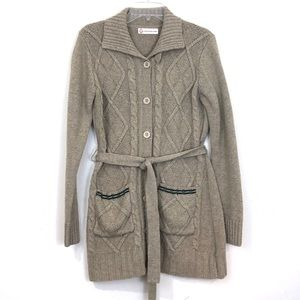 Vintage Cotton Inn Belted Cable Knit Cardigan